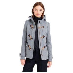 J. CREW Duffle Melton Wool Grey Toggle Coat